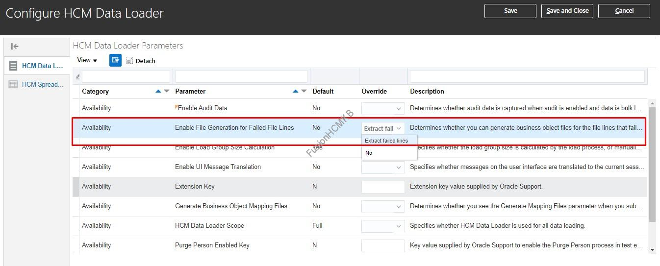Configure HCM Data Loader - Generate HDL file for failed business object Lines