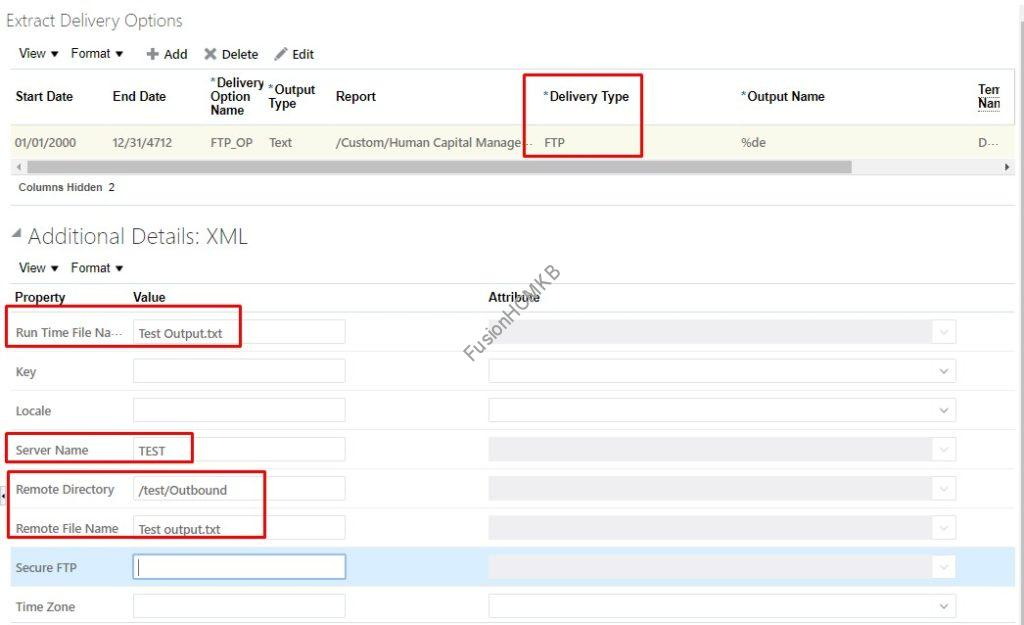 FTP delivery option in hcm extract fusion hcm oracle hcm cloud