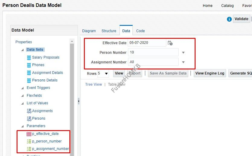 Sample Data Model 1 - Hiding input parameters on BI report