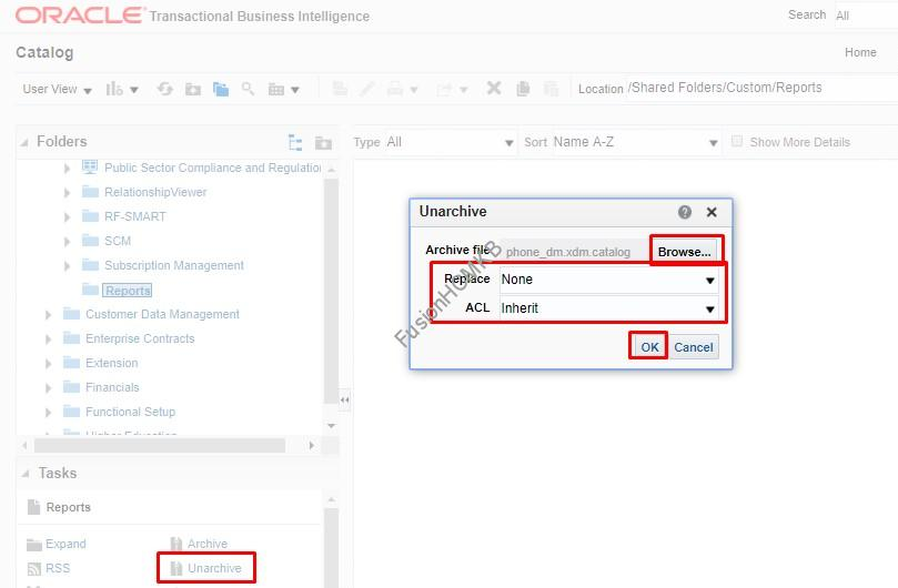 unarchive options - Migration of Objects - BI Reports
