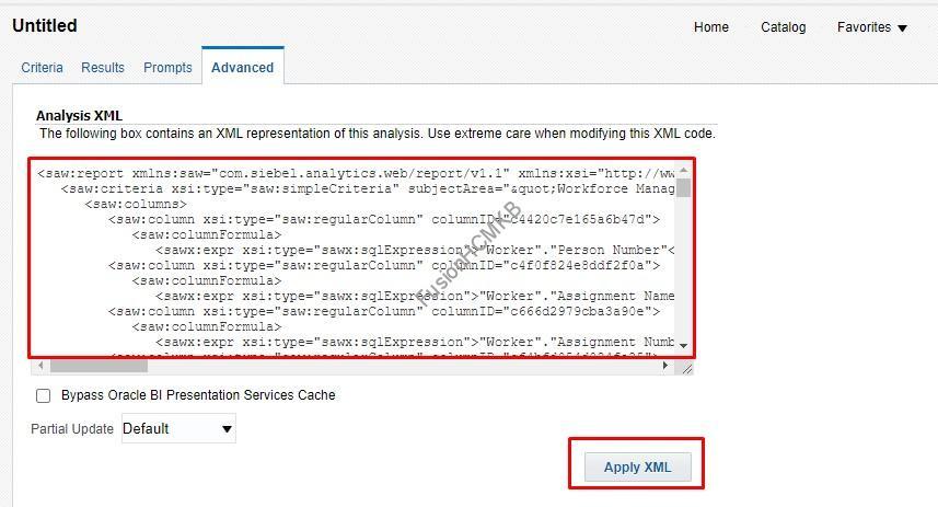 Apply XML - Migration of Objects – OTBI Analytics
