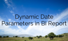 Dynamic Date Parameters in BI Report