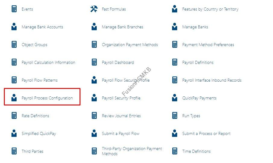 Payroll quick actions - Accessing Payroll Process Configuration task