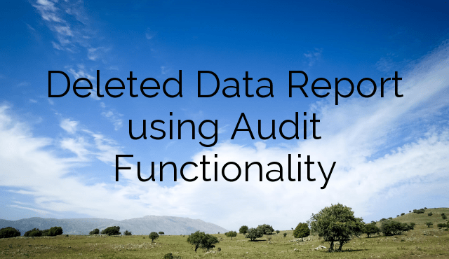 Deleted Data Report using Audit Functionality