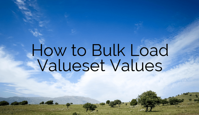How to Bulk Load Valueset Values