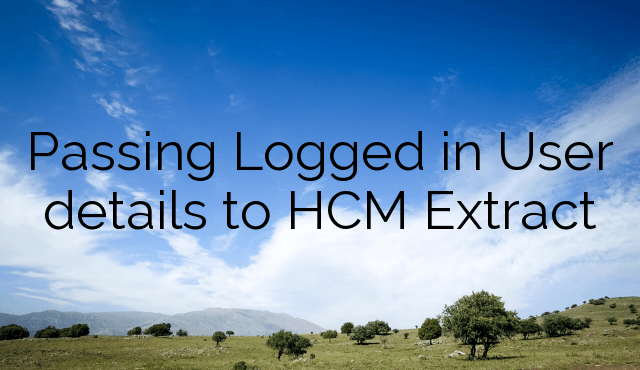 Passing Logged in User details to HCM Extract