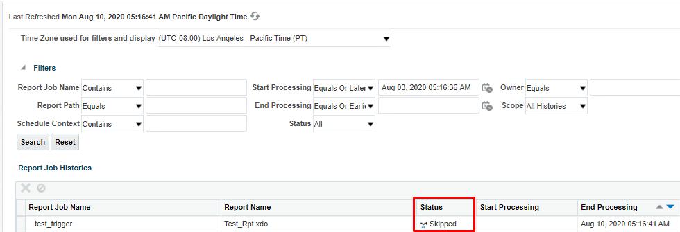 image 4 - Skip Schedule using Schedule Triggers in BI Publisher