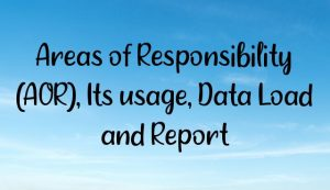 Areas of Responsibility (AOR), Its usage, Data Load and Report