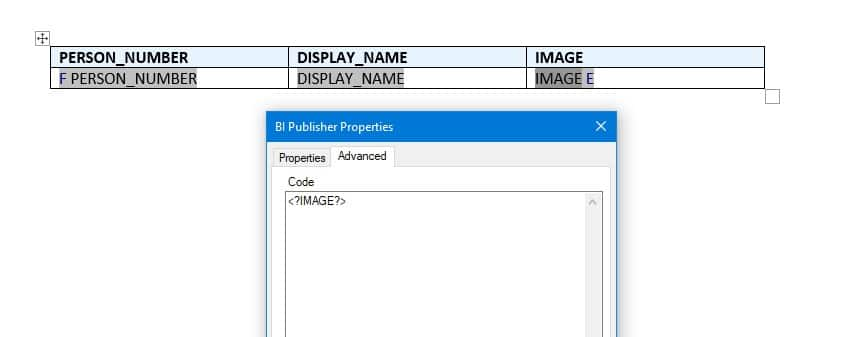 default template - Display Person Image on BI Report