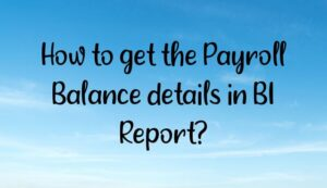 How to get the Payroll Balance details in BI Report?