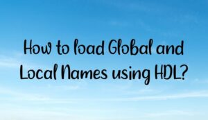 Read more about the article How to load Global and Local Names using HDL?