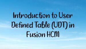 Introduction to User Defined Table (UDT) in Fusion HCM