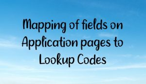 Mapping of fields on Application pages to Lookup Codes