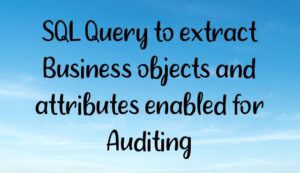 Read more about the article SQL Query to extract Business objects and attributes enabled for Auditing