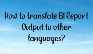Read more about the article How to translate BI Report Output to other languages?