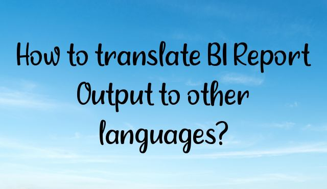 You are currently viewing How to translate BI Report Output to other languages?